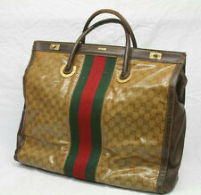 "19"" VINTAGE 1970's GUCCI BAG OVERSIZED HANDBAG HOBO LUGGAGE LEATHER MONOGRAMMED"