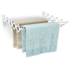 Clothes DRYING RACK Wall Mount 24 Inch Accordion Expandable Laundry White Polder