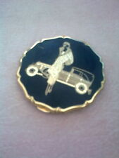 Rare Vintage Stratton Compact -  'Lady with Rolls' in Black & Gold