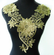1 Metallic Gold Trim Lace Applique Floral Collar Neck Motif Trendy Design T562