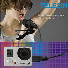 Pro Mini USB Stereo External Microphone Mic w/ Collar Clip for GoPro Hero 3 3+ 4