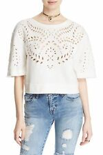 NWT FREE PEOPLE WOMEN SzL CRUMPETTE CROPPED EYELET SWEATSHIRT TOP IN IVORY. $108