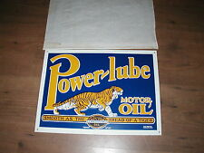 Unused Power-Lube Motor Oil embossed tin sign with tiger graphics