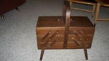 VINTAGE WOODEN ACCORDION FOLDING SEWING CRAFT JEWELRY BOX STAMPED ROMANIA