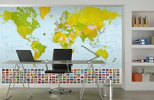 Giant paper wallpaper 366x254cm Map of the World wall mural for home office