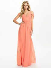 "*SALE* BNWT Forever Unique ""Greta"" Off Shoulder Chiffon Maxi Dress UK12 RRP £185"
