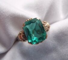 GORGEOUS RARE OSTBY BARTON 10K YG FANCY FACETED GREEN STONE ANTIQUE RING S 7.25