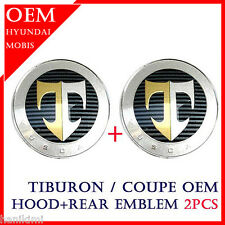 "HYUNDAI TUSCANI HOOD + TAIL ""T"" EMBLEM Set TIBURON COUPE 03 ~ 06 Sports"