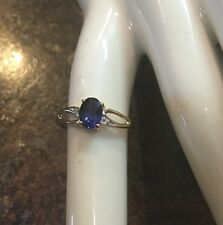 10k Gold Sapphire Ring With Diamond Accents Sz7