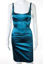 Dolce & Gabbana Teal Blue Spaghetti Strap Sheath Cocktail Dress Size 38, 4