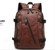 2016 Mens Brown Leather Backpack Rucksack Travel School Laptop Shoulder book Bag