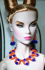 "OOAK by Grazia/schmuckset/para 16"" Dolls/tulabelle, Fashion Royalty/Cobalto-orange"
