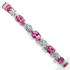 Sterling Silver 925 Genuine Pink Topaz Gemstone & Silver Link Bracelet 7.5-9 In