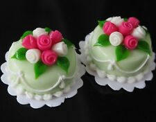 Dollhouse Miniature 2 Round Wedding Green Cream Cake Roes Top Toy Food Supply