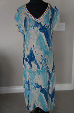 NEW Johnny Was 3J Workshop Embroidered Linen VNeck Djellaba Long Dress Tunic S