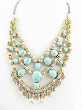 NWT Lucky Brand Turquoise with  Two-Tone Stone and Bead Drama Necklace
