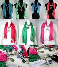 US SELLER-12pcs bulk wholesale necklaces glass pendant jewelry scarf