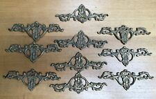"""ANTIQUE SET OF 10 BACKING PLATES 7"""" X 2 5/8""""  - SOLID BRASS"""