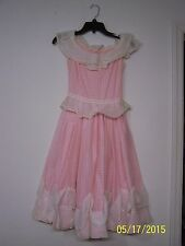 Vintage 1970's Girls pink Dress Handmade & Vogue Pattern