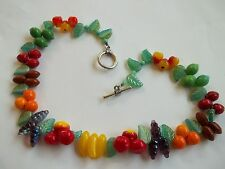 "vintage glass necklace,fruit glass beads,leaves,great cnd,toggle clasp,16""long"