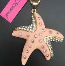 Betsey Johnson Starfish Pendant Necklace Pink & Gold with Stones