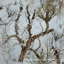 BonEful Fabric FQ Cotton Quilt White Brown Wood Camo Winter Snow Camo Real Tree