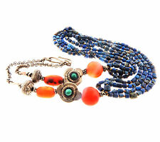 """Antique Chinese Carnelian Lapis Turquoise Necklace 925 Sterling Silver 5mm 24"""""""