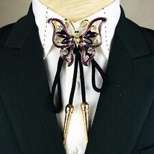 Elegant Purple Butterfly Bolo Tie Crystal Bola Ties Necktie Dazzling Necklace