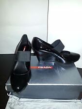 NIB New Prada Black Patent Leather Platforms Wedge Heels Shoes 39.5 8.5 9 US