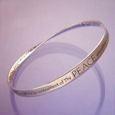 St. Francis Bracelet Bangle Inspirational Message STERLING SILVER Lord Peace