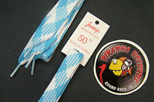 "Baby Blue White Plaid Fat Flat 50"" x (5/8""-3/4"") JUMP Shoelaces Shoe Strings"