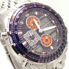 CITIZEN WORLD TIME ANA-DIGI ALARM CHRONOGRAPH CALENDAR 100m JN0121-82L cg