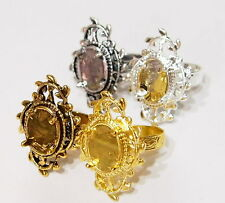 4 Plated Different Colors 14x10 mm Victorian Art Deco Loops Leaves Ring Settings