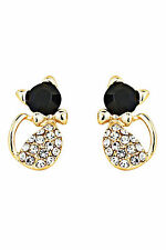 PAIR OF DIAMANTE PUSS CAT/KITTEN EARRINGS, BLACK GEMSTONE FACE & GOLD BOW TIE