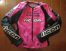 Icon Motorsports Racing Motorcycle Jacket Women's LARGE Pink Apparel Stage2 Merc