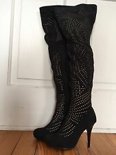 Jeffrey Campbell sz 7 Black Cut Out  Heel Thigh High Over The Knee 'Issue' Boots