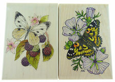 Wooden Rubber Butterfly Stamps 2 Pack NEW  FP85 P1502P  N