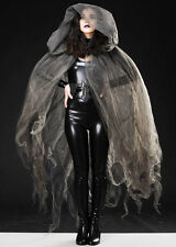 Halloween Gothic Grey Tulle Net Sheer Cape
