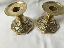 Pair Vintage Ornate Solid Brass Candleholders -old