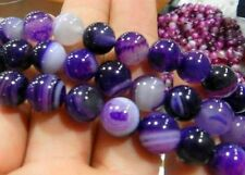 6-8-10mm Natural Color Stripe Agate Onyx Gems Round Loose Beads 15""