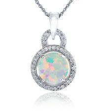 Sterling Silver Created White Opal & CZ Round Necklace