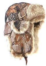 WINTER WARM JUNGLE TREE DESIGN FAUX FUR LINED TRAPPER STYLE THERMAL HAT ONE SIZE