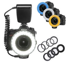 18 LED  Macro Ring Flash Light+8 Rings+ 4x Diffusers For Canon Nikon DSLR Camera