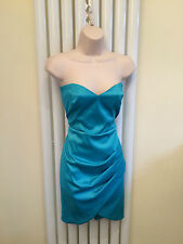 JANE NORMAN Stunning Sexy Teal Green Blue Bandeau Pencil Party Dress Size 12