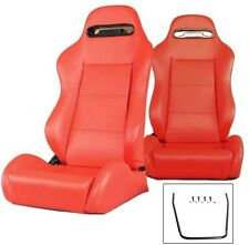 NEW 2 RED LEATHER RACING SEATS RECLINABLE W/ SLIDER ALL CHEVROLET ****