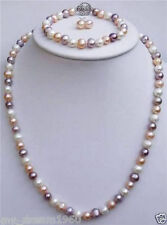 Natural 7-8mm White pink Purple Freshwater Pearl Necklace Earring Bracelet Set