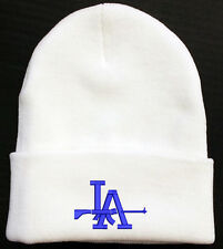BLUE LA DODGERS WITH SHOT GUN LOGO WHITE BEANIE HAT WINTER CAP