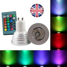 B22 Adaptor & DIMMABLE Remote 16 Colours Changing + WHITE GU10 LED Light Bulb UK