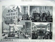 """Antique Engraved Print 1886 - """"The Hospital for Diseases of the Chest, City Rd"""""""