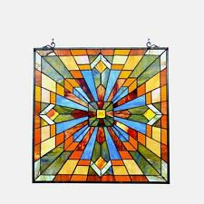 """Tiffany Style Stained Glass Mission Window Panel CH1P037AM24-GPN 24"""" Handcrafted"""